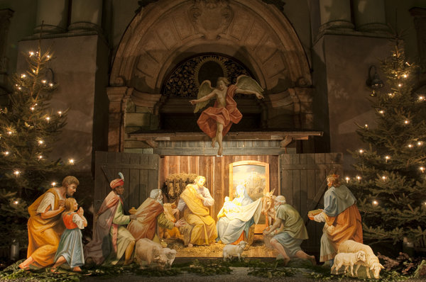 Nativity scene in front of Basilica of St Anna.