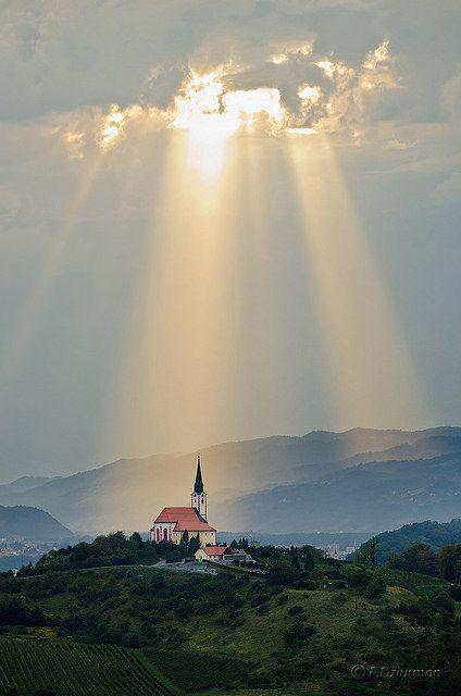 sunlight on church